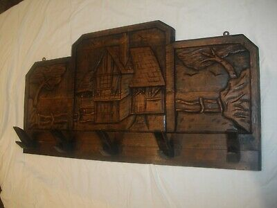 ANTIQUE/VINTAGE COAT RACK, Solid Wood with Carved Panels of House and Landscapes