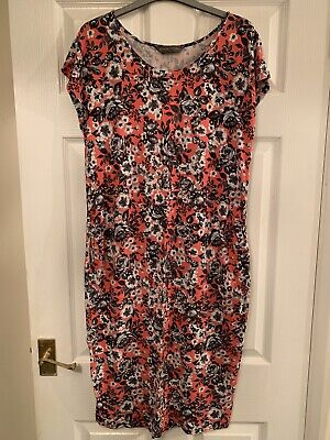 Mothercare Maternity Blooming Marvelous Orange Black Floral Midi Dress Size 16