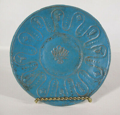 Egyptian 700s Revival Faience Blue Relief Bowl Plate Grapes Coptic Christian yqz