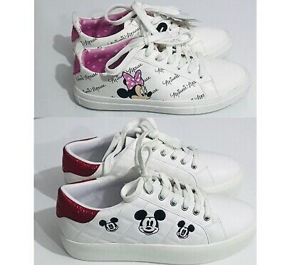 Primark Ladies Girls Disney White Mickey & Minnie Mouse Lace-Up Trainers Shoes