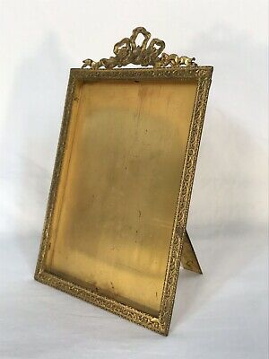 Antique French Ormolu Gold Gilt Bronze Or Brass Standing Frame 4 x 5 1/2 Opening
