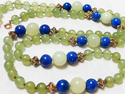 Chinese Vintage Green Jade And Lapis Bead Necklace, 9Kg Clasp, 82 Grams