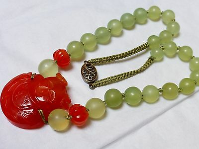 Vintage Chinese Carved Carnelian, Jade Beads Necklace Pendant, Sterling Clasp