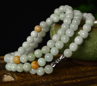 Certified Green Yellow 100% Natural A JADE JADEITE Bead Beads Necklace 8mm  9566