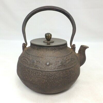D107: Japanese quality iron kettle TETSUBIN with popular shape and dragon relief