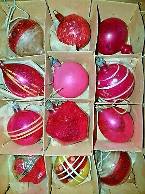 Antique Victorian German Pink Feather Tree Glass Figural  Ornaments Mix