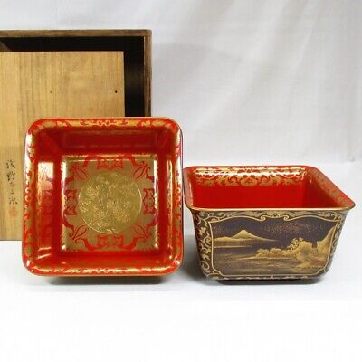 D333: Highest class Japanese old lacquer ware two square bowls with finest MAKIE