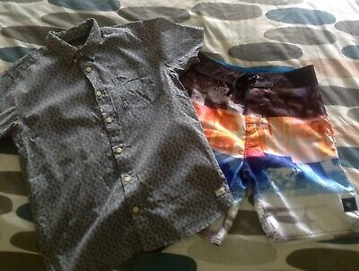 Boys size 14 Quiksilver Short sleeved shirt and Ripcurl board shorts