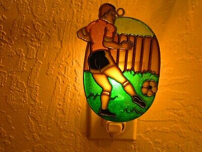 Beautiful Boy Playing Soccer  Stained Glass Style Night Light