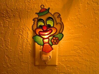 Beautiful Colorful Clown Stained Glass Style Night Light