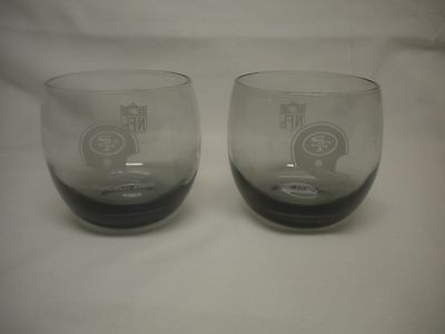 NFL 49ers Smoked Glass Tumblers set of 2 - Vintage