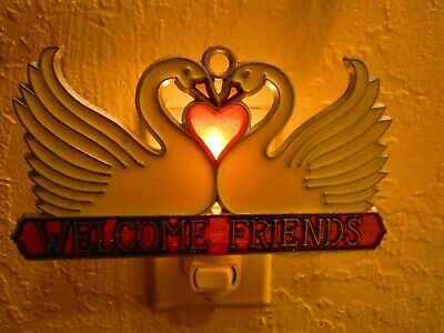 Beautiful 2 Swans Welcome Friends Stained Glass Style Night Light