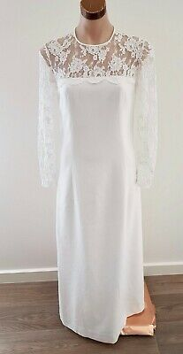 Vintage 1969 WHITE Long Sleeve LACE WEDDING Dress w Cathedral CAPE size 10