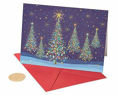 Papyrus Christmas Cards Boxed, Magical Row of Christmas Trees (14-Count)