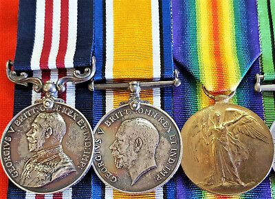 Ww1 British Army 1918 Military Medal Group Wounded In Action 138464 Gnr Carter