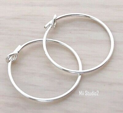 10x 25mm Round beading hoop earring ear wire solid STERLING SILVER earwire E16s