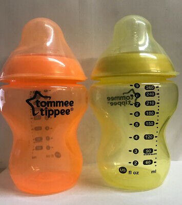 Tommee Tippee Closer to Nature BABY BOTTLES 9 OZ 2 PACK- Yellow/Orange- New