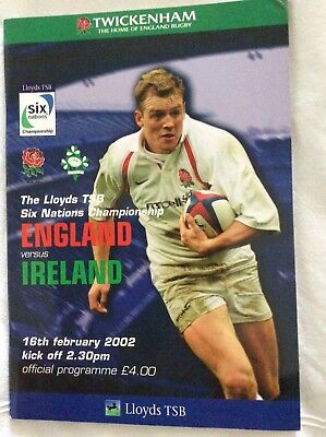 England v Ireland Six Nations rugby programme 2002