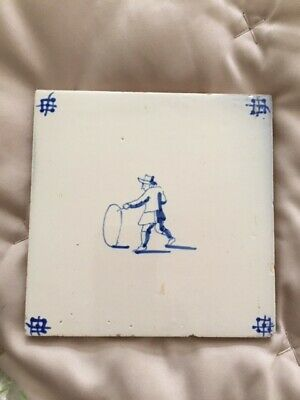 ANTIQUE DELFT TILE circa 19th century -  Child with Hoop (no.11)
