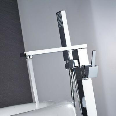 Freestanding Bathtub Faucet Tub Filler With Hand Shower Floor Mounted Chrome