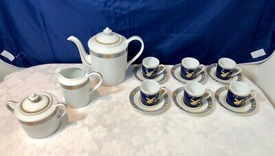 Bernardaud Kent Bleu Set Coffee pot + Sugar Bowl + Creamer + 6 coffee cups NEW