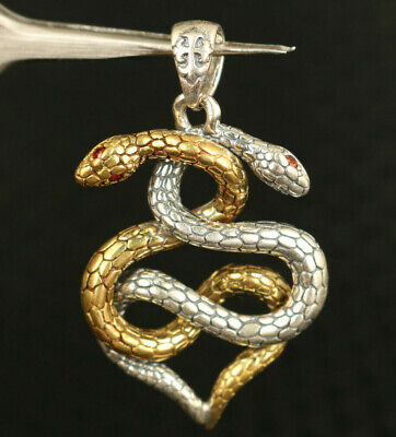 solid Silver Hand Carved Dual Snake Statue Pendant Netsuke gift deco