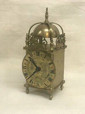 Antique Brass Lantern Clock In Working Order