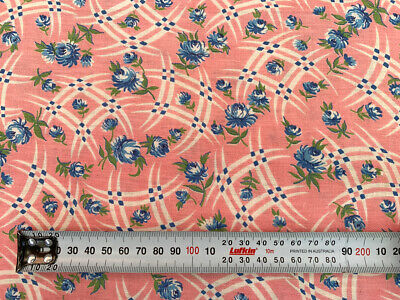 Genuine Vintage 1940s Cotton Fabric, Pink with Blue Flowers   92 x 215cm