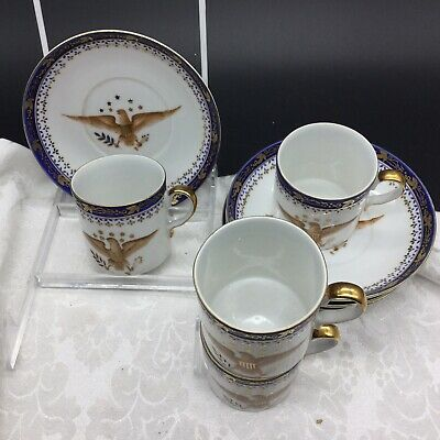 4 Vintage Chinese Export Federal American Eagle Armorial Crest Tea Cups Saucers