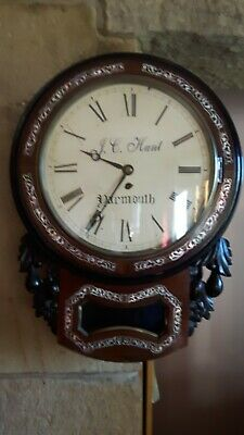 Antique English drop dial wall clock with fusee . J.C.Hunt of Yarmouth .