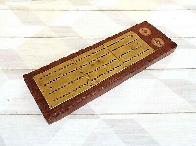 Large Wood and Brass Plated Crib Board - Cribbage Game Scorer
