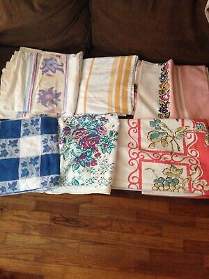 Vintage Tablecloth Lot  6 Craft Cutters