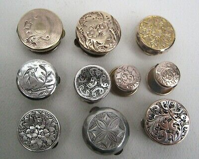 10 Antique Victorian Edwardian Silver Gold Gilt Fronted Bachelor Buttons Studs