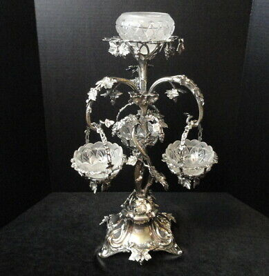 """Antique  22 1/4"""" Silver Plate & Glass Victorian Naturalistic Epergne Centerpiece"""