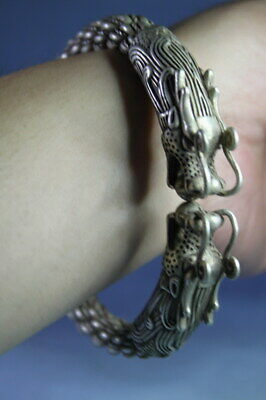 Handmade Precious Collection Miao Silver Carving Two Dragon Exquisite Bracelet