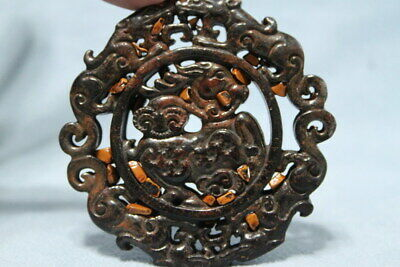 Collectable Handicraft Ancient Old Jade Carving Horse & Lion Auspicious Pendant
