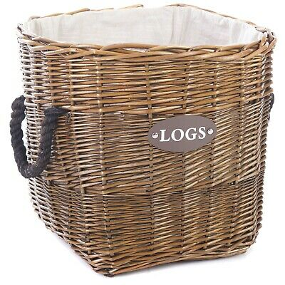 Log Basket with Rope Handles and Lining 40cm x 40cm x 40cm (Large)