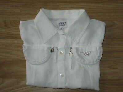 Girls ARMANI Junior Long Sleeve White Linen Shirt Top 8 years yrs /130 cm VGC!
