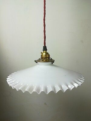 Vintage white opaque glass ceiling frilled edge light shade brass gallery old