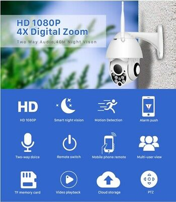 Pan Tilt Zoom 1080P PTZ IP Camera Outdoor Speed Dome Wireless Wifi Security Came