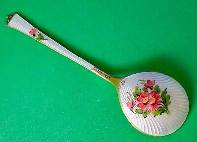 Bernard Meldahl Norway Sterling Silver, Gold Wash, Guilloche Enamel Jam Spoon