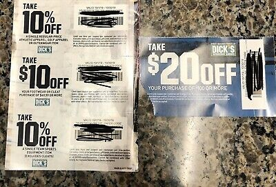 4 Dicks Sporting Goods Coupons $20 Off Exp 10/30