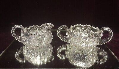 VTG. ANTIQUE AMERICAN BRILLIANT CUT GLASS CRYSTAL Open Sugar Bowl & Creamer Set