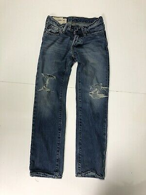 Abercrombie Boy's Heavily Distressed Bootcut Blue Jeans Size 10 MSRP $49