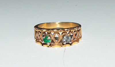 Vintage 14K Gold Ring With Green and Blue Stones Size 6 1/4 Jewelry 4.4 Grams