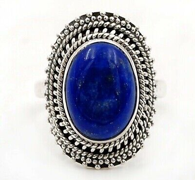 Wonderful Art Lapis Lazuli 925 Solid Sterling Silver Ring Jewelry Sz 7, C33-6