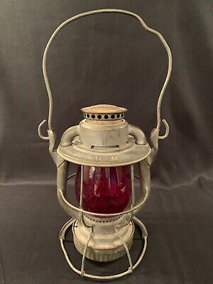 Antique Dietz Vesta New York Central Railroad Lantern NYCS Red Globe G.M.&O.R.R.