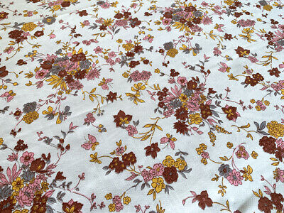 1960s Vintage Cotton Crepe Fabric, White, Pink & Yellow Floral   5 Pieces