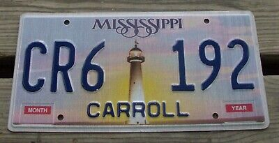 Mississippi Lighthouse License Plate # Cr6 192 Low S&H