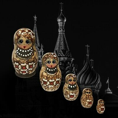 Set Of 5 Russian Matryoshka Nesting Dolls ~ Wood Burned With Gold & Hand Painted